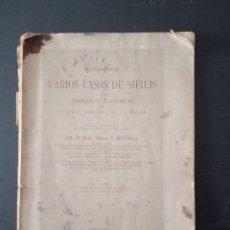Libros: VARIOS CASOS DE SÍFILIS -DR.JUAN SOLER Y BUSCALLA.. Lote 257758165