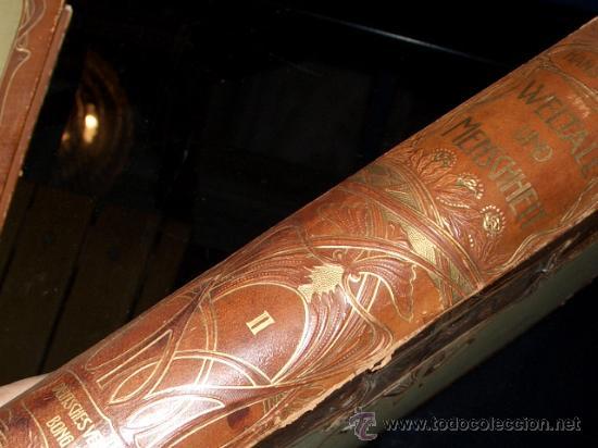 Libros antiguos: WELTALL UND MENSCHHEIT dedicado a la evolución del hombre. Enc. modernista - Foto 4 - 27325015