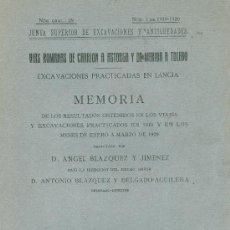 Libros antiguos: ANGEL BLAZQUEZ JIMENEZ. EXCAVACIONES PRACTICADAS EN LANCIA (LEÓN), 1919-1920. MADRID 1920. CYL. LEÓ. Lote 28655992