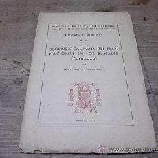 Libros antiguos: 1210.- ZARAGOZA-ARQUEOLOGIA-SEGUNDA CAMPAÑA DEL PLAN NACIONAL EN LOS BAÑALES. Lote 31167535
