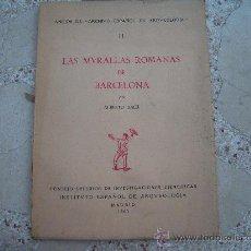 Libros antiguos: LAS MURALLAS ROMANAS DE BARCELONA, TOMO II, ALBERTO BALIL, 1961, INSTITUTO ESPAÑOL DE ARQUEOLOGIA. Lote 38985044