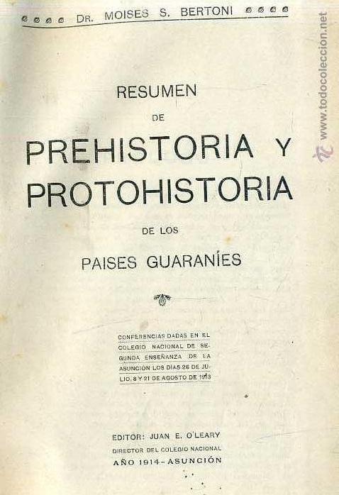 BERTONI : PREHISTORIA Y PROTOHISTORIA DE LOS PAÍSES GUARANÍES (PARAGUAY, 1914) (Libros Antiguos, Raros y Curiosos - Ciencias, Manuales y Oficios - Arqueología)
