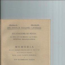 Libros antiguos: EXCAVACIONES DE MÉRIDA. MÉLIDA, JOSÉ RAMÓN; MACÍAS, MAXIMILIANO. 1929. 21 LÁMINAS Y PLANO PLEGADO.. Lote 42408510