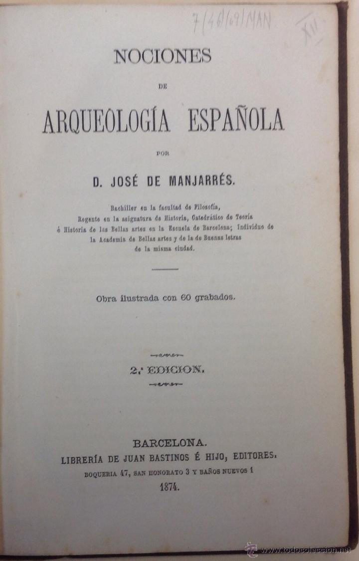Libros antiguos: José de MANJARRÉS. NOCIONES DE ARQUEOLOGÍA CRISTIANA para uso de los seminarios conciliares: Guía de - Foto 2 - 43248745