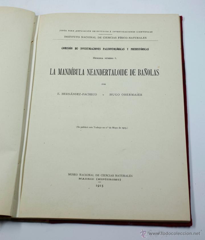 LA MANDÍBULA NEANDERTALOIDE DE BAÑOLAS, HERNÁNDEZ PACHECO - HUGO OBERMAIER, MADRID 1917. 20X28CM (Libros Antiguos, Raros y Curiosos - Ciencias, Manuales y Oficios - Arqueología)