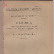 Libros antiguos: MÉLIDA. MEMORIA EXCAVACIONES NUMANCIA. SORIA. ARQUEOLOGÍA. 1918. Lote 47651164