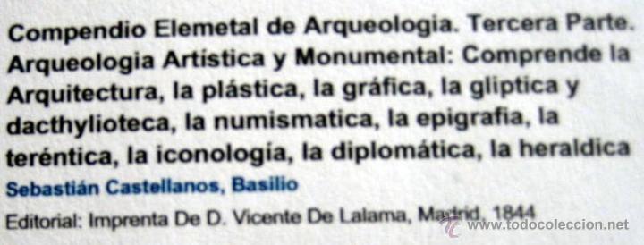 Libros antiguos: COMPENDIO DE ARQUEOLOGÍA -BASILIO SEBASTIAN - MADRID 1844 - Foto 4 - 48581832