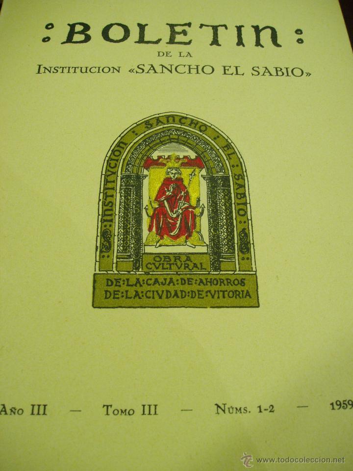 BOLETÍN DE LA INSTITUCIÓN SANCHO EL SABIO ARQUEOLOGÍA AÑO III- TOMO III-Nº 1-2---AÑO 1959 (Libros Antiguos, Raros y Curiosos - Ciencias, Manuales y Oficios - Arqueología)
