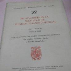 Libros antiguos: PEDRO DE PALOL: EXCAVACIONES EN LA NECROPOLIS DE SAN JUAN DE BAÑOS (PALENCIA) MEMORIA CON UN ESTUDIO. Lote 50893646