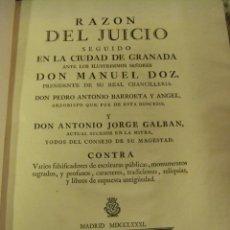 Libros antiguos: RAZÓN DEL JUICIO SEGUIDO EN LA CIUDAD DE GRANADA ANTE LOS ILUSTRÍSIMOS SEÑORES MANUEL DOZ S. XVIII. Lote 51026738