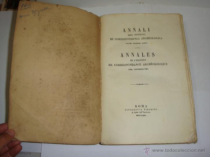 ANNALI DELL'INSTITUTO DI CORRISPONDENZA ARCHEOLOGICA. 1863. CON LAMINAS EXPLICATORIAS. (Libros Antiguos, Raros y Curiosos - Ciencias, Manuales y Oficios - Arqueología)