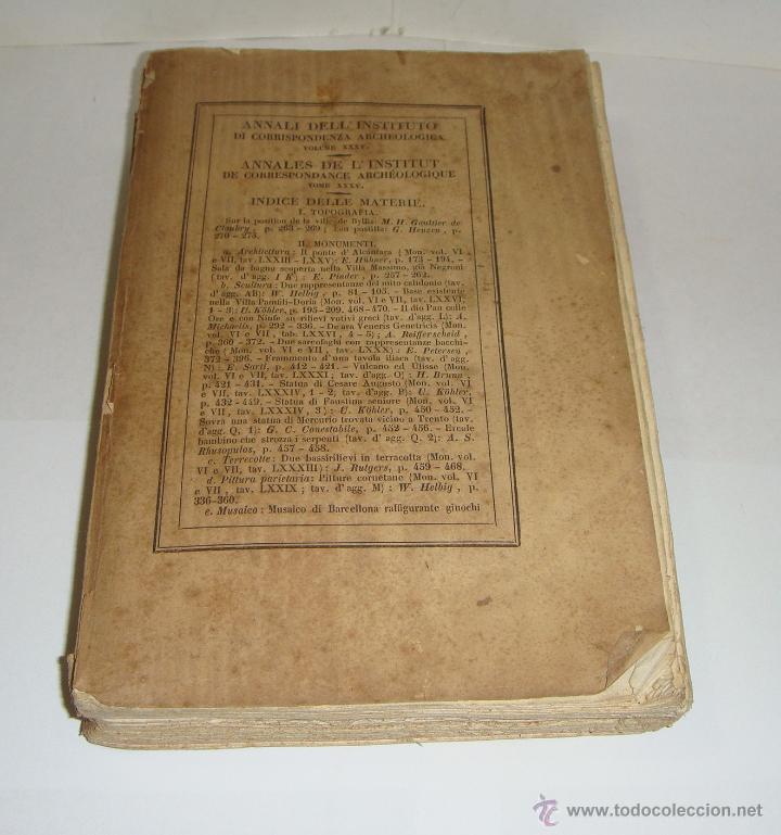 Libros antiguos: Annali dellInstituto di Corrispondenza Archeologica. 1863. Con laminas explicatorias. - Foto 2 - 51557392
