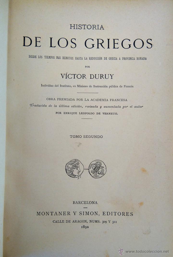 Libros antiguos: III TOMOS OBRA COMPLETA,HISTORIA DE LOS GRIEGOS,SIGLO XIX, AÑO 1891,TEMA MONEDA ORO,CERAMICA,ARTE, - Foto 10 - 54571613