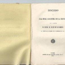 Libros antiguos: 1862 - DUQUE DE SAN MIGUEL - DISCURSO ... REAL ACADEMIA DE LA HISTORIA - ARQUEOLOGÍA. Lote 204307220