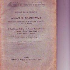 Libros antiguos: RUINAS DE NUMANCIA - MEMORIA DESCRIPTIVA - 1924. Lote 56907271
