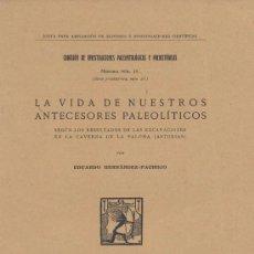 Libros antiguos: LA VIDA DE NUESTROS ANTECESORES PALEOLITICOS. H. PACHECO. 1923. PREHISTORIA. ASTURIAS. ORIGINAL. Lote 57630174