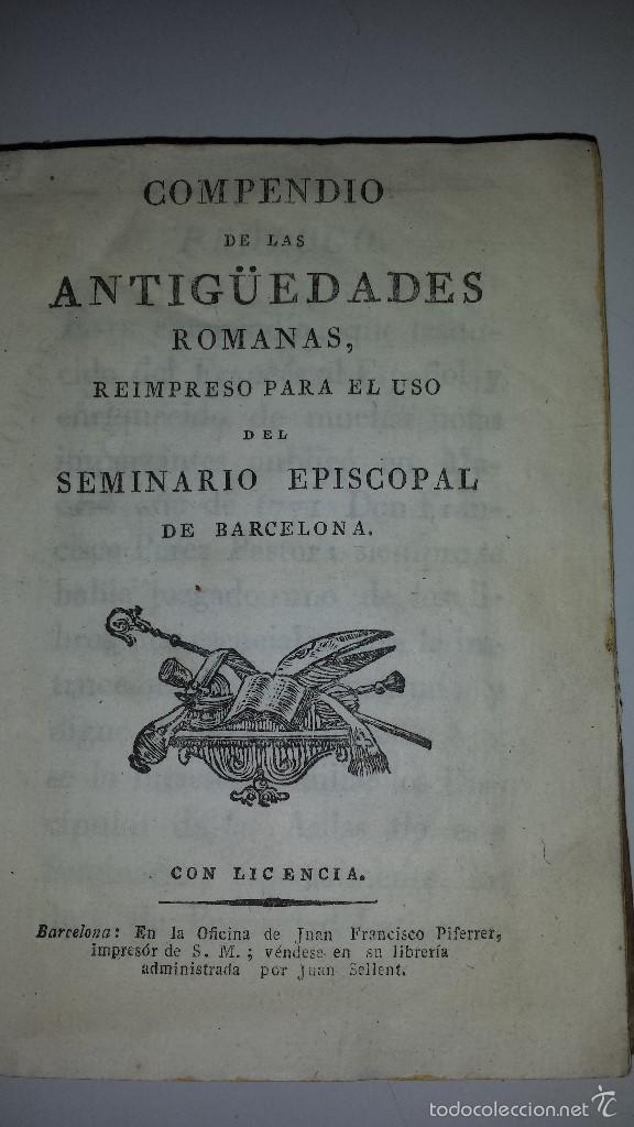 COMPENDIO DE LAS ANTIGUEDADES ROMANAS 1771 (Libros Antiguos, Raros y Curiosos - Ciencias, Manuales y Oficios - Arqueología)