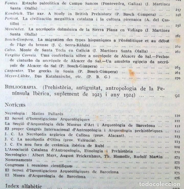 Libros antiguos: Butlletí de l'Associació Catalana d'Antropologia Etnología i Prehistòria 1925 volum tercer fascic II - Foto 4 - 68960821