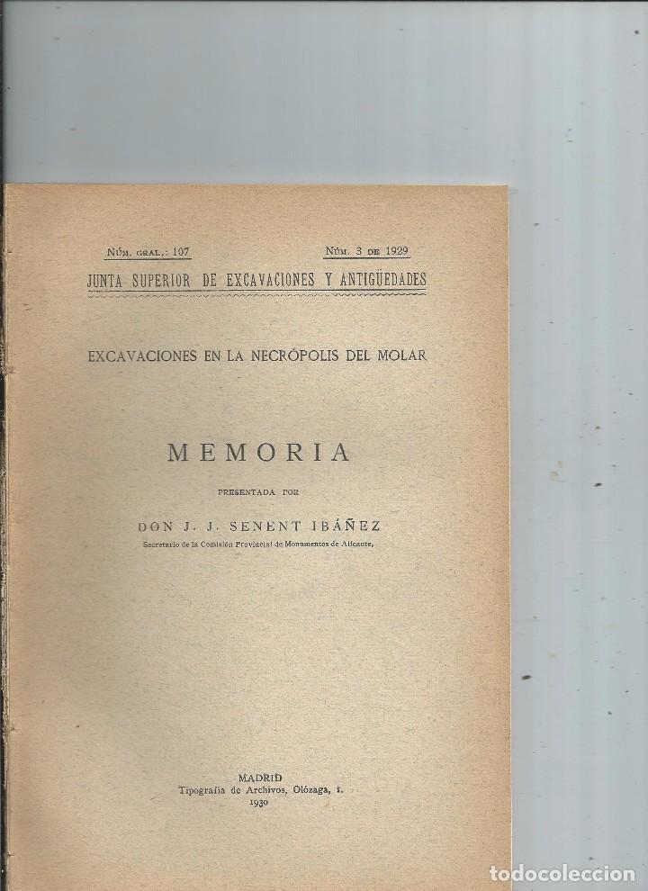 1930 - EXCAVACIONES EN LA NECROPOLIS DEL MOLAR (ALICANTE) - J. J. SENENT IBAÑEZ (Libros Antiguos, Raros y Curiosos - Ciencias, Manuales y Oficios - Arqueología)