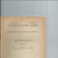 Libros antiguos: 1930 - EXCAVACIONES EN LA NECROPOLIS DEL MOLAR (ALICANTE) - J. J. SENENT IBAÑEZ. Lote 82241056