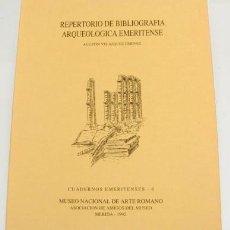 Libros antiguos: REPERTORIO DE BIBLIOGRAFÍA ARQUEOLÓGICA EMERITENSE. Lote 93041380
