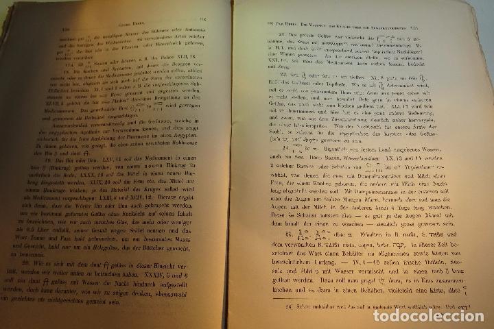 Libros antiguos: PAPYRUS EBERS -DIE MAASSE UND DAS KAPITEL ÚBER DIE AUGENKRANKHEITEN-GEORG EBERS-NºII UND III-1889- - Foto 6 - 94438098