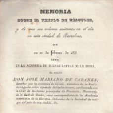 Libros antiguos: J. MARIANO CABANES. EL TEMPLO DE HÉRCULES Y SUS 6 COLUMNAS DE BARCELONA. BARCELONA, 1838. Lote 106951495