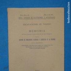 Libros antiguos: EXCAVACIONES EN TOLEDO. MEMORIA DE LOS TRABAJOS EFECTUADOS EN EL CIRCO ROMANO. CASTAÑOS MONTIJANO. Lote 112990755