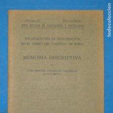 Libros antiguos: EXCAVACIONES DE EXPLORACION EN EL CERRO DEL CASTILLO DE SORIA.-M.GONZALEZ SIMANCAS. Lote 112995623