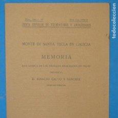 Libros antiguos: MONTE DE SANTA TECLA EN GALICIA . MEMORIA QUE ACERCA DE LOS TRABAJOS REALIZADOS EN 1923-24 .I.CALVO. Lote 113091447