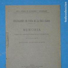 Libros antiguos: EXCAVACIONES EN PUNTA DE LA VACA (CADIZ)MEMORIA ACERCA DE LAS PRACTICADAS EN 1915. Lote 113093983