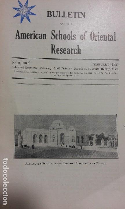 BULLETIN OF THE AMERICAN SCHOOLS OF ORIENTAL RESEARCH. N° 9, 1923. ARQUEOLOGÍA BAGDAD JERUSALÉN (Libros Antiguos, Raros y Curiosos - Ciencias, Manuales y Oficios - Arqueología)