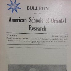 Libros antiguos: BULLETIN OF THE AMERICAN SCHOOLS OF ORIENTAL RESEARCH. N° 9, 1923. ARQUEOLOGÍA BAGDAD JERUSALÉN. Lote 116641755