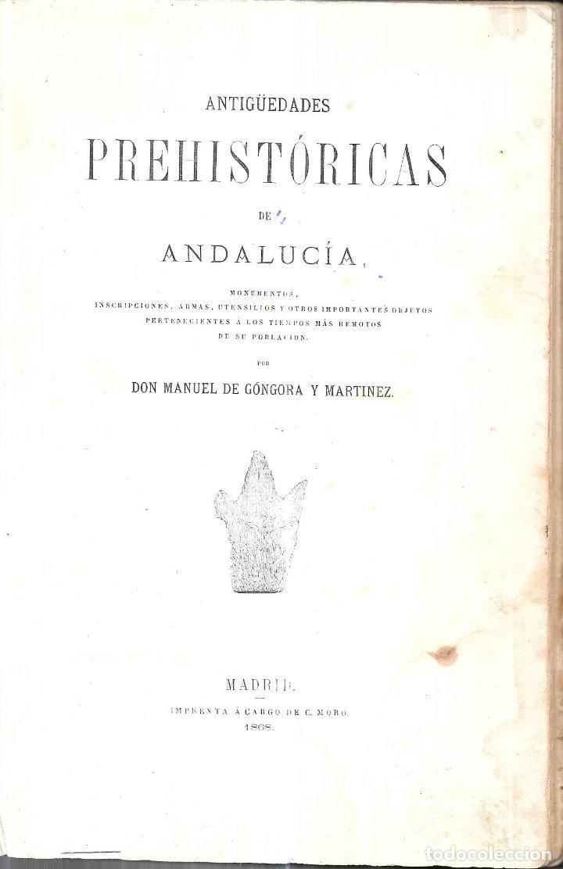 Libros antiguos: ANTIGÚEDADES PREHISTORICAS DE ANDALUCIA. D. MANUEL DE GÓNGORA Y MARTINEZ. 1868. - Foto 2 - 117796631