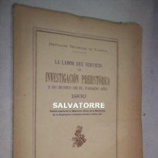 Libros antiguos: DIPUTACION VALENCIA.LABOR SERVICIO INVESTIGACION PREHISTORICA 1930.. Lote 121379495