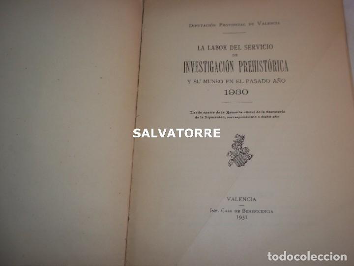 Libros antiguos: DIPUTACION VALENCIA.LABOR SERVICIO INVESTIGACION PREHISTORICA 1930. - Foto 2 - 121379495