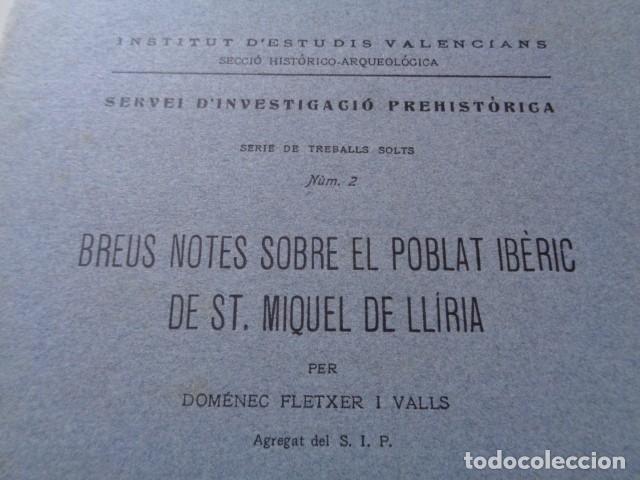 Libros antiguos: SIP. INVESTIGACIÓN PREHISTORICA. 1937. GUERRA CIVIL, POBLADO IBERICO DE SAN MIQUEL. LLIRIA, VALENCIA - Foto 2 - 121946647