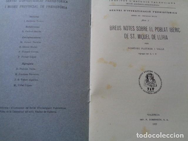 Libros antiguos: SIP. INVESTIGACIÓN PREHISTORICA. 1937. GUERRA CIVIL, POBLADO IBERICO DE SAN MIQUEL. LLIRIA, VALENCIA - Foto 4 - 121946647