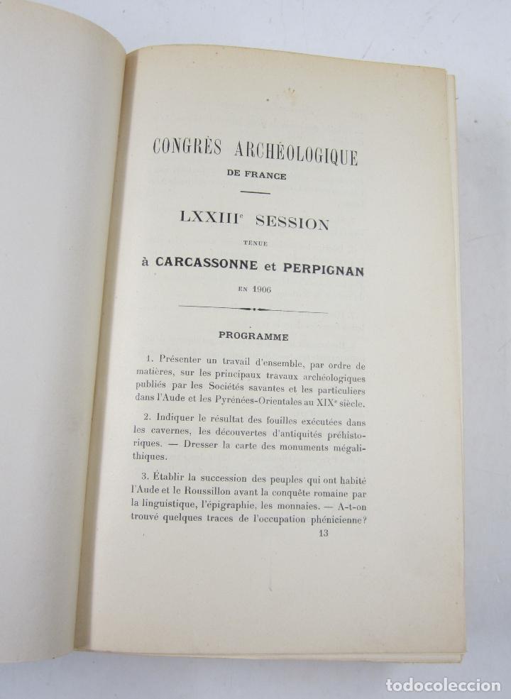 Libros antiguos: Congrès archéologique de France, LXXIII session, 1906, Carcassonne et Perpignan. 15,5x23cm - Foto 3 - 122657311