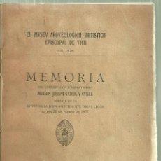 Libros antiguos: 1797.-MUSEU ARQUEOLOGIC ARTISTIC EPISCOPAL DE VIC EN 1926-CONFERENCIA DE JOSEP GUDIOL. Lote 125700255