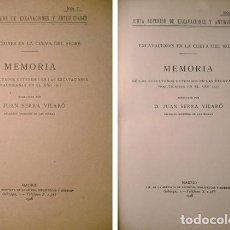Libros antiguos: SERRA, JUAN. EXCAVACIONES EN LA CUEVA DEL SEGRE (LÉRIDA). MEMORIA DE LOS RESULTADOS OBTENIDOS...1918. Lote 127732467