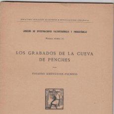 Libros antiguos: E. HERNÁNDEZ PACHECO: LOS GRABADOS DE LA CUEVA DE PENCHES. BURGOS. MADRID, 1917. CON DEDICATORIA. Lote 128216487