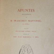 Libros antiguos: APUNTES ARQUEOLÓGICOS DE... - MARTORELL Y PEÑA, FRANCISCO. - GIRONA, 1879.. Lote 123215110