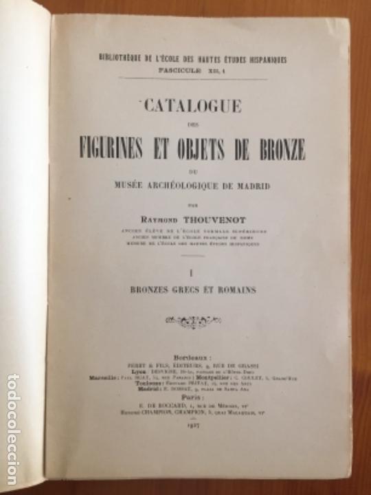 Libros antiguos: ARQUEOLOGIA- CATALOGUE DES FIGURINES ET OBJETS DE BRONZE- MUSEO ARQUEOLOGICO MADRID- 1.927 - Foto 2 - 129637855