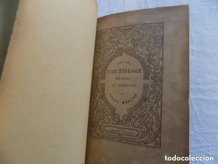 Libros antiguos: LIBRERIA GHOTICA. JULES MARTHA. LARCHEOLOGIE. ETRUSQUE ET ROMAINE. 1870. MULTITUD DE GRABADOS. - Foto 2 - 133016298