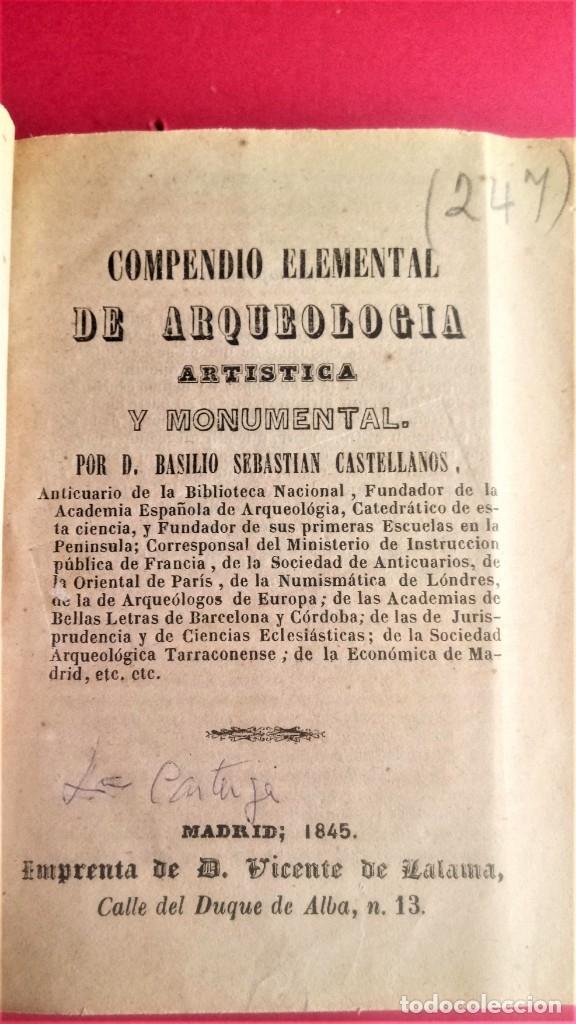 Libros antiguos: LIBRO,II TOMOS OBRA COMPLETA,COMPENDIO ELEMENTAL DE ARQUEOLOGIA,SIGLO XIX,AÑO 1844,POR ANTICUARIO - Foto 3 - 138938002