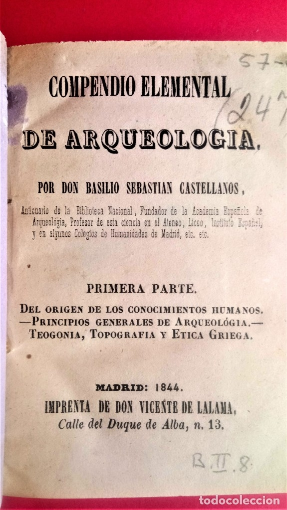Libros antiguos: LIBRO,II TOMOS OBRA COMPLETA,COMPENDIO ELEMENTAL DE ARQUEOLOGIA,SIGLO XIX,AÑO 1844,POR ANTICUARIO - Foto 4 - 138938002