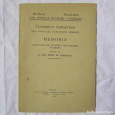 Libros antiguos: YACIMIENTOS PALEOLÍTICOS DEL VALLE DEL MANZANARES MADRID J. PÉREZ DE BARRADAS 1922, 8 LÁMINAS. Lote 152209514