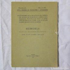 Libros antiguos: EXCAVACIONES EN LA NECRÓPOLI CELTIBÉRICA DEL ALTILLO DE CERROPOZO ATIENZA GUADALAJARA 1930, 20 LÁMIN. Lote 152209790