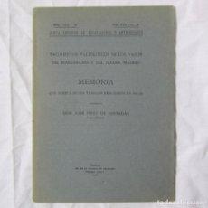 Libros antiguos: YACIMIENTOS PALEOLÍTICOS DE LOS VALLES DEL MANZANARES Y JARAMA MADRID 1923 PÉREZ DE BARRADAS 8 LÁMIN. Lote 152210058